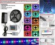Светодиодная лента RGB 5050: КОНТРОЛЛЕР,  ПУЛЬТ,  БЛОК ПИТАНИЯ